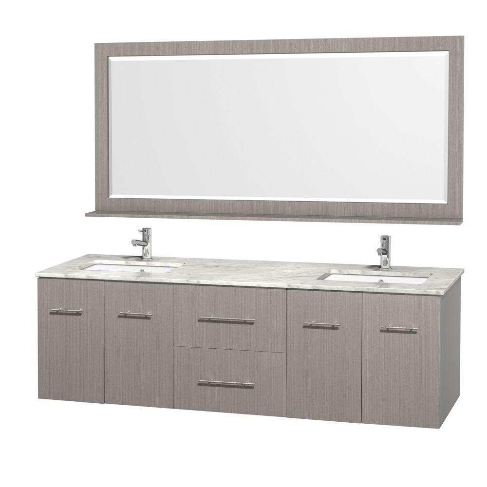 Centra 72 in. Double Vanity in Grey Oak with Marble Vanity