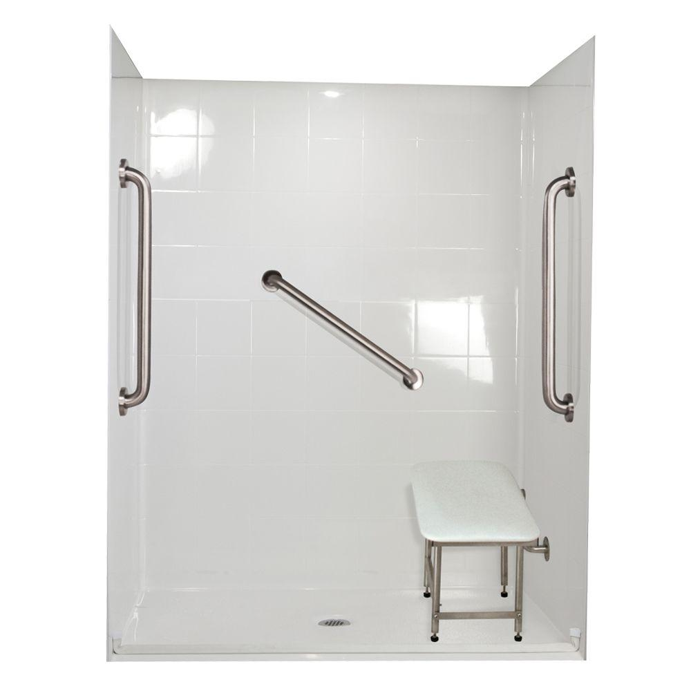 Ella Standard Plus 24 33 in. x 60 in. x 77-3/4 in. Barrier Free Roll-In Shower Kit in White with Center Drain