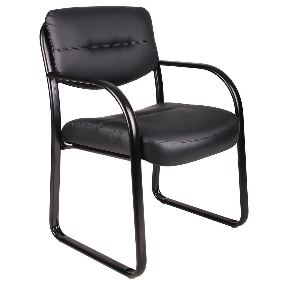 Boss Black Leather Sled Base Side Chair With Arms B9529 The Home Depot