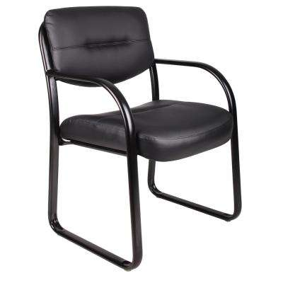 Black Leather Sled Base Side Chair with Arms