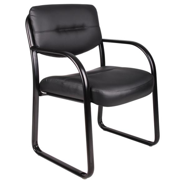 Boss Black Leather Sled Base Side Chair with Arms B9529