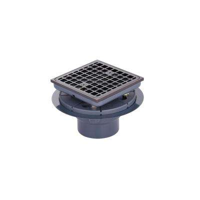 Brass and PVC Square Shower Drain and Strainer in Oil-Rubbed Bronze