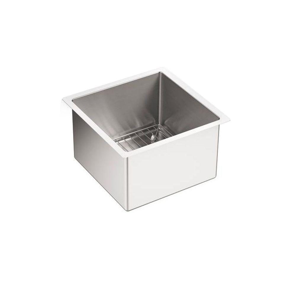 KOHLER Strive Undermount Stainless Steel 15 In. Single Bowl Bar Sink Kit  With Bowl Rack
