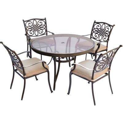 Seasons 5-Piece Aluminum Outdoor Dining Set with Round Dining Table and Tan Cushions