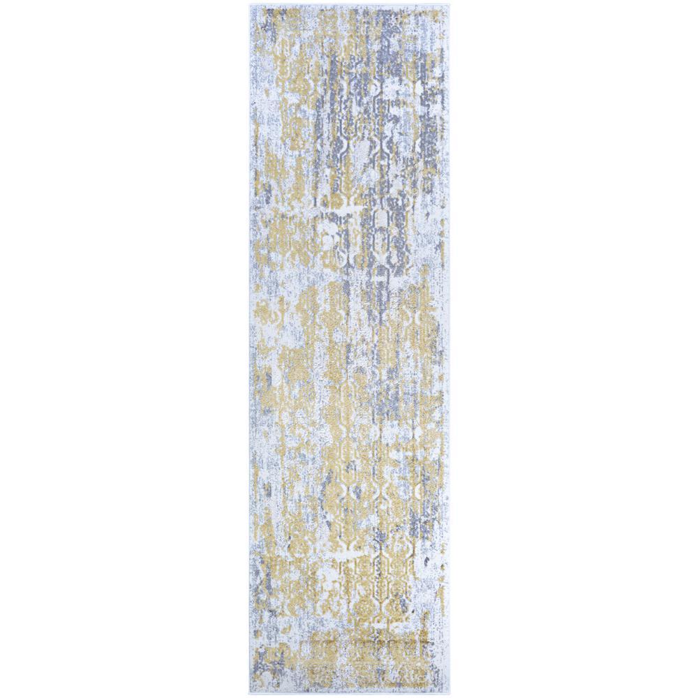 Calinda Grand Damask Gold-Silver-Ivory 2 ft. 3 in. x 7 ft. 6 in. Runner Rug