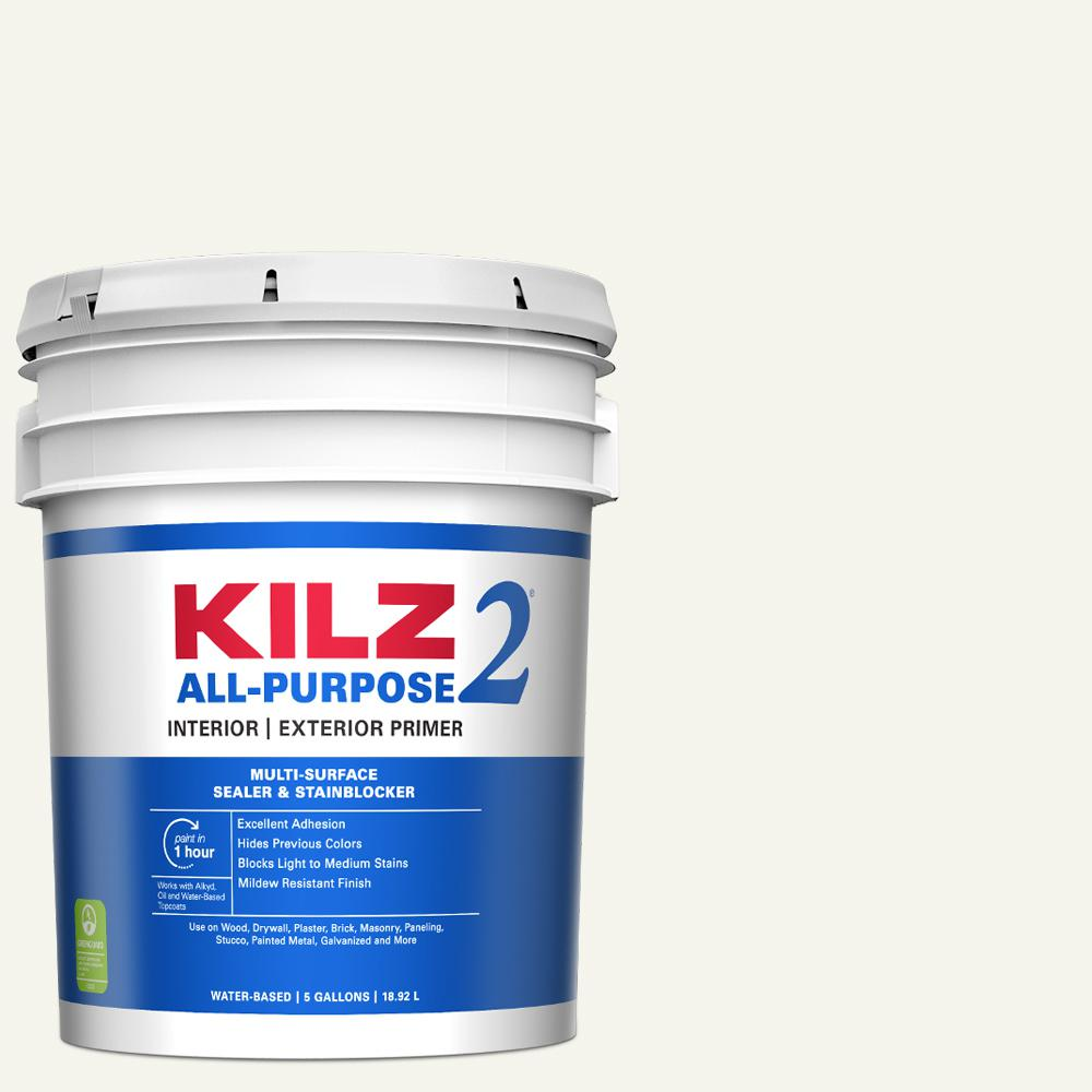 Kilz 2 All Purpose 5 Gal White Interior Exterior Multi Surface Primer Sealer And Stain Blocker 20000 The Home Depot