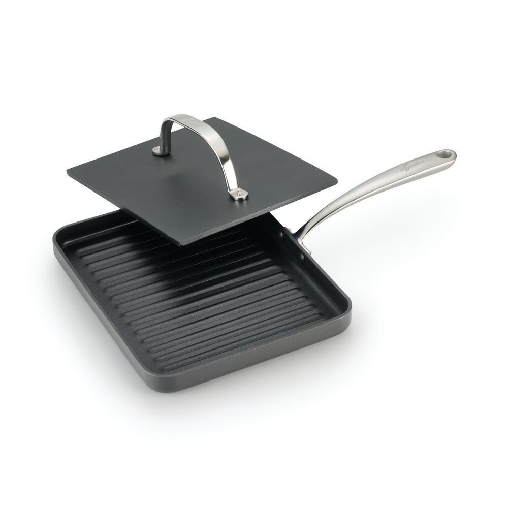 Lagostina Nera Hard Anodized Aluminum Panini Pan with Cast