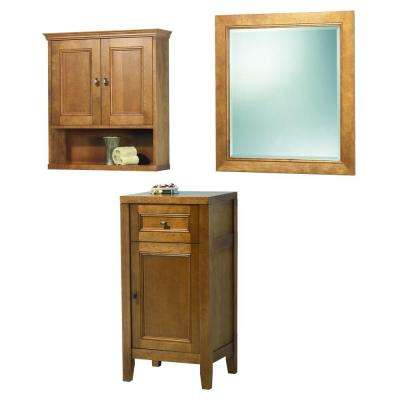 Exhibit 35 in. L x 17 in. W Wall Mirror and Wall Cabinet and Floor Cabinet in Rich Cinnamon