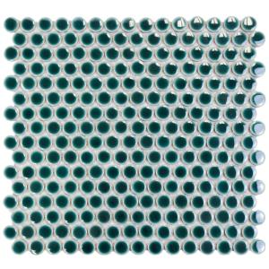 Merola Tile Hudson Penny Round Emerald 12 In X 12 5 8 In