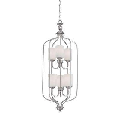 6-Light Brushed Pewter Pendant with Etched White Glass
