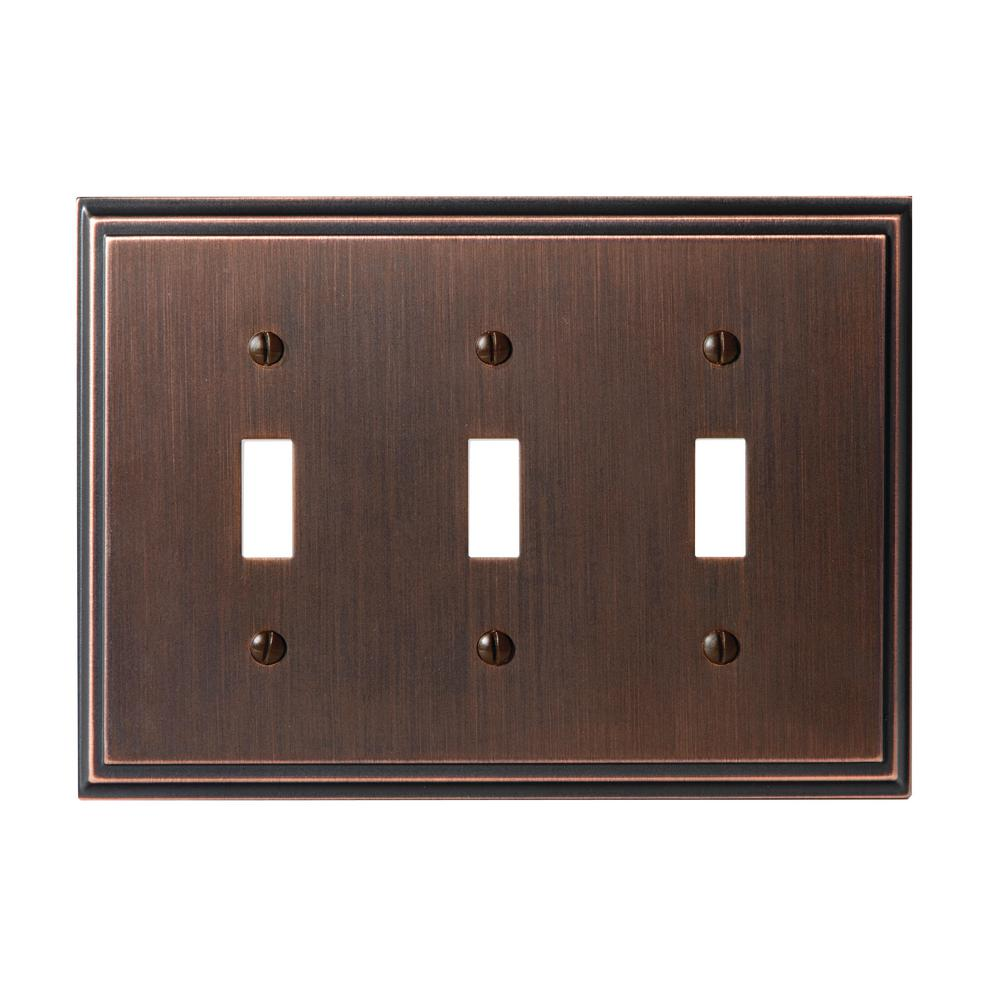 Mulholland 3-Toggle Wall Plate, Oil-Rubbed Bronze