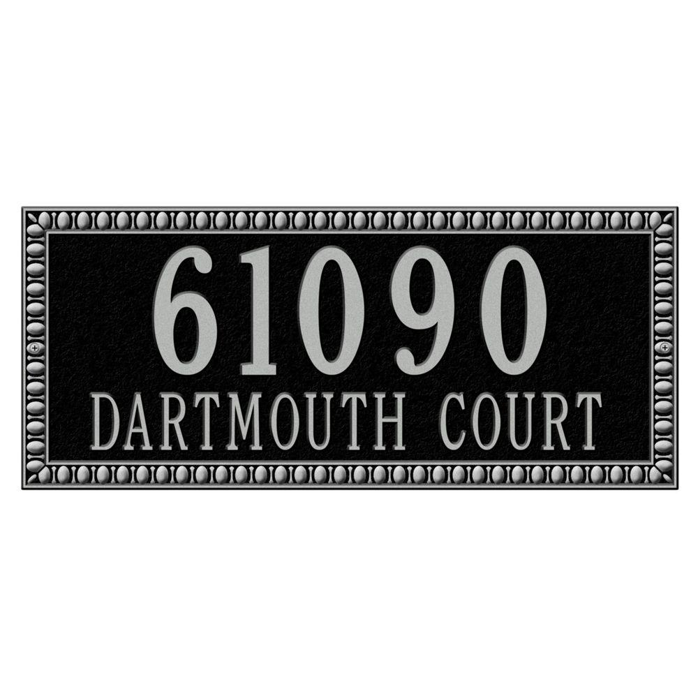 Egg and Dart Rectangular Black/Silver Estate Wall Two Line Address Plaque