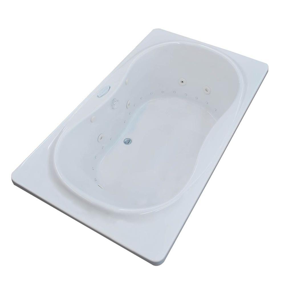 Star Diamond Series 6 ft. Center Drain Rectangular Drop-in Whirlpool and Air Bath Tub in White