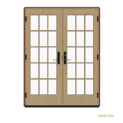 60 in. x 80 in. W-4500 Contemporary Red Clad Wood Left-Hand 15 Lite French Patio Door w/Unfinished Interior