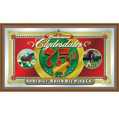 Budweiser Clydesdales 75th Anniversary 15 in. x 26 in. Brown Wood Framed Mirror