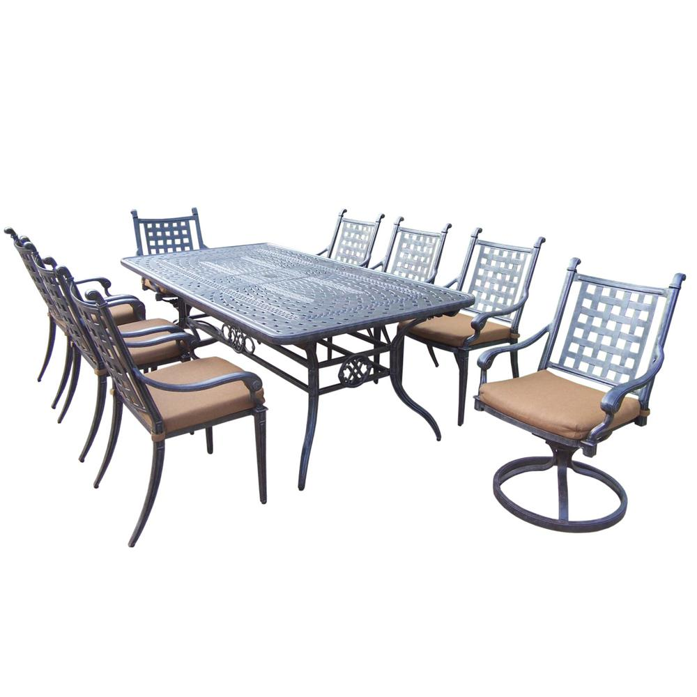Belmont Extendable 9-Piece Rectangular Cast Aluminum Patio Dining Set with