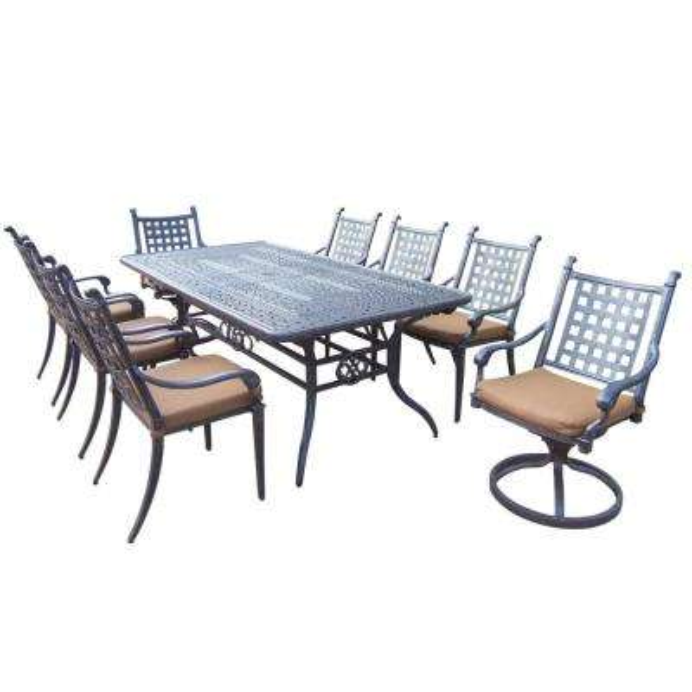 Belmont Extendable 9-Piece Rectangular Cast Aluminum Patio Dining Set with Sunbrella Canvas Teak Cushions