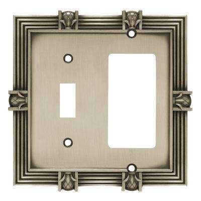 Pineapple Decorative Switch and Rocker Switch Plate, Brushed Satin Pewter