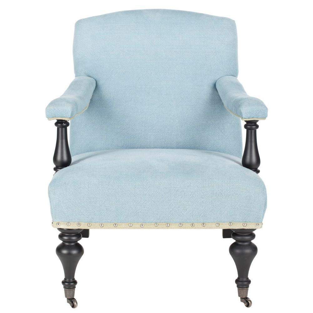Devona Light Blue/Black Linen Arm Chair