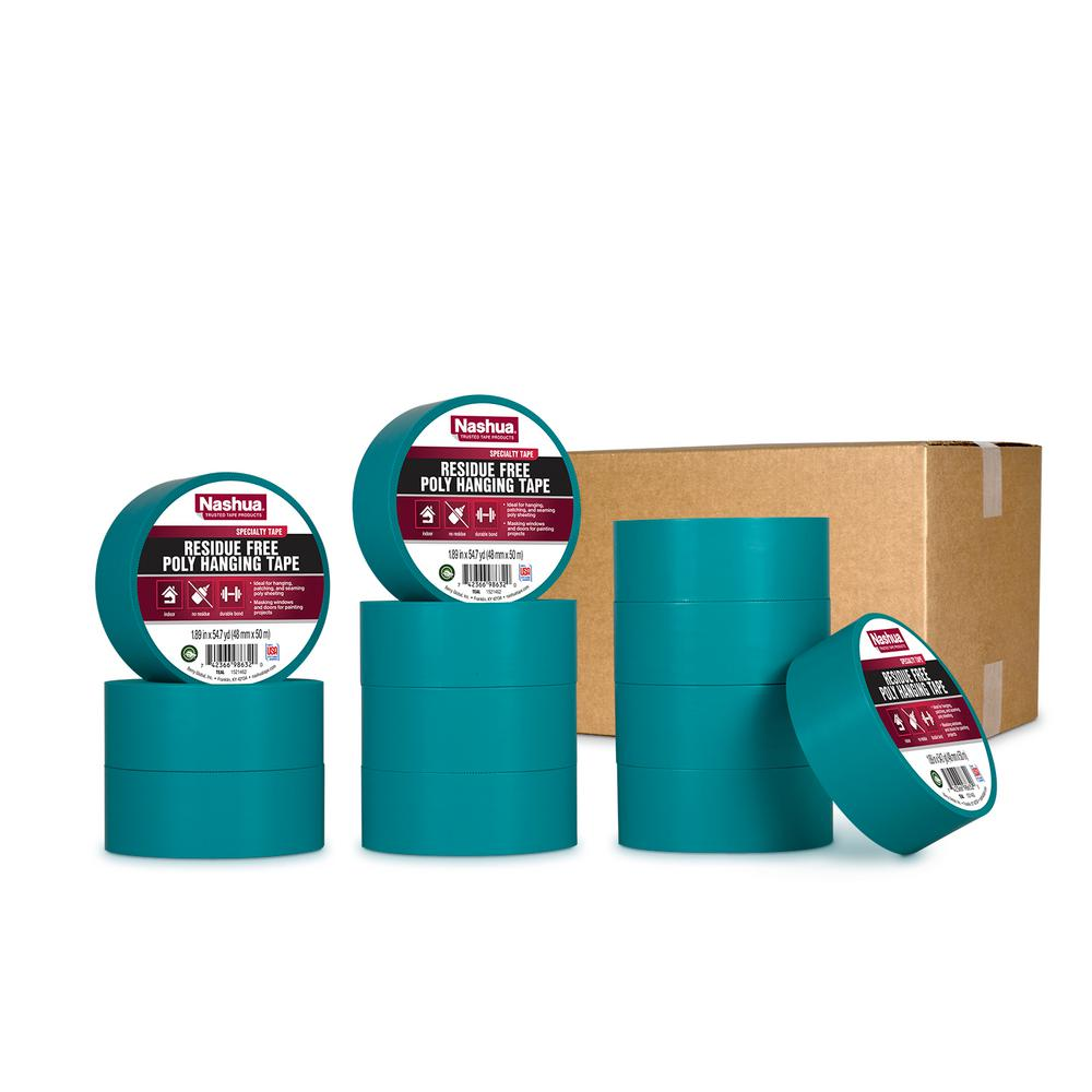 Nashua Tape 1.89 in. x 54.7 yd. Residue Free Poly Hanging Tape in Teal (12-Pack)