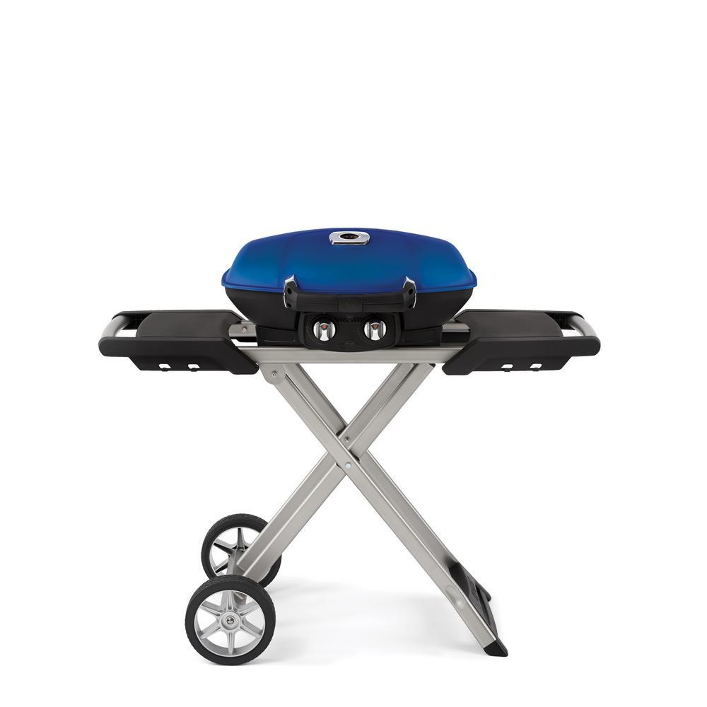 TravelQ 285 with Scissor Cart Portable Propane Gas Grill in Black