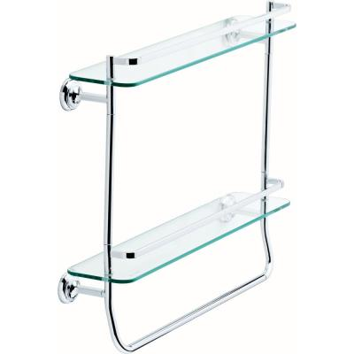 20 in. W Double Glass Shelf with Towel Bar in Polished Chrome