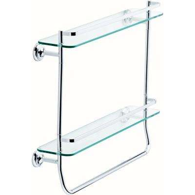 20 in. Double Glass Shelf with Towel Bar in Polished Chrome