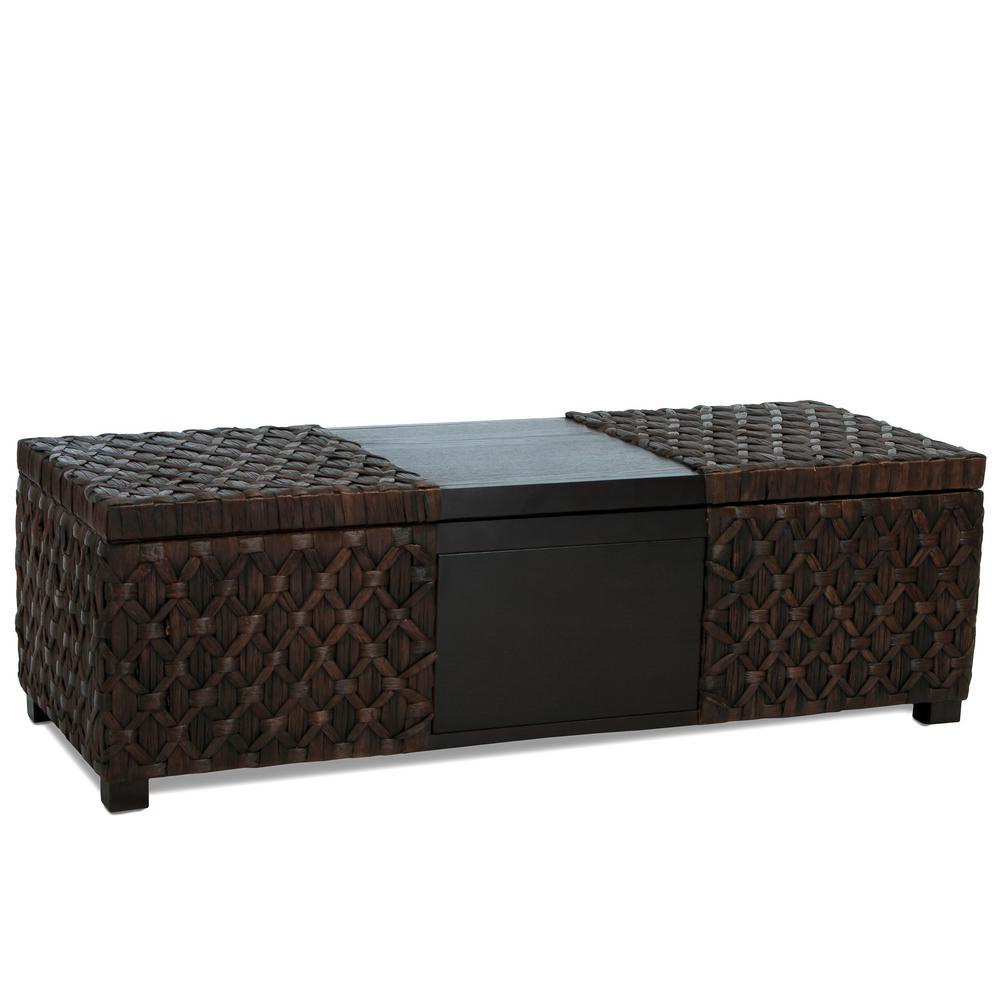 Noble House Rinaldi Dark Brown Rattan And Wood Storage Bench 237655