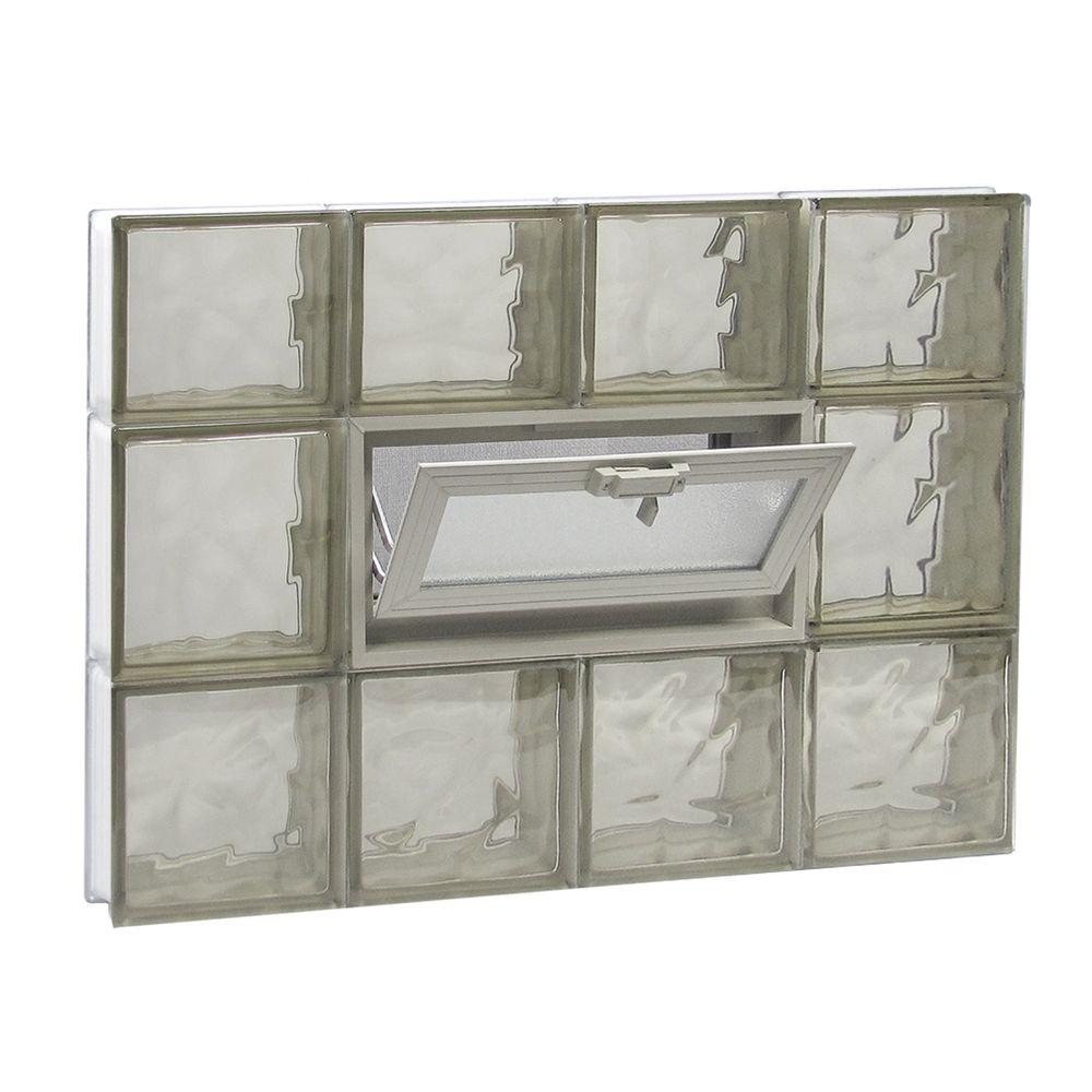 Clearly Secure 31 in. x 21.25 in. x 3.125 in. Frameless Wave Pattern Vented Bronze Glass Block Window