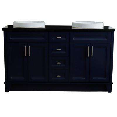 61 in. W x 22 in. D Double Bath Vanity in Blue with Granite Vanity Top in Black Galaxy with White Round Basins