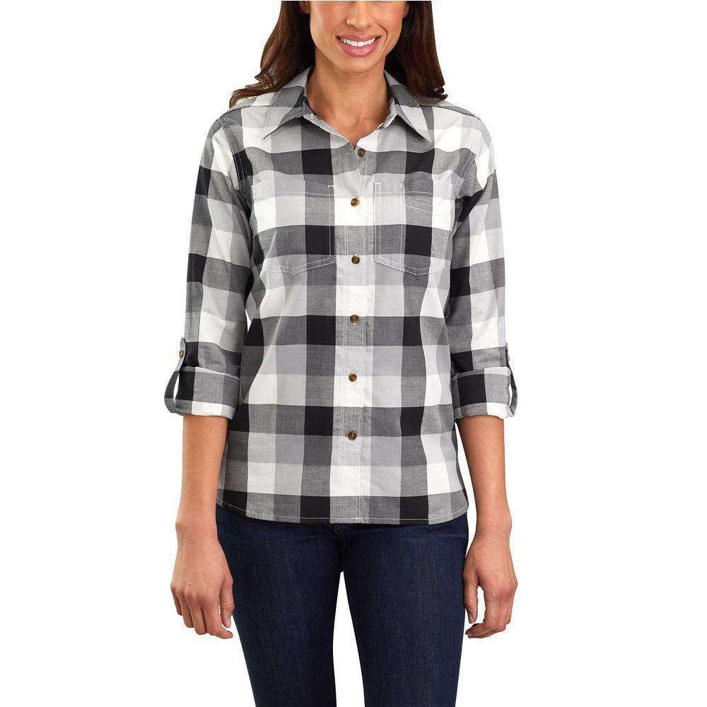 Cotton Small Fairview Shirt Carhartt Women's Asphalt Plaid X sQdthrC