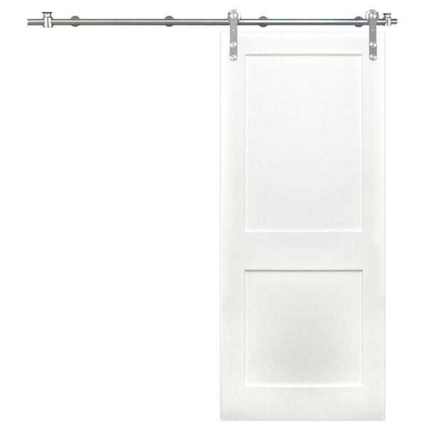 Pacific Entries 36 In X 84 In Shaker 2 Panel Primed Wood Interior Sliding Barn Door With Round Stainless Steel Hardware Kit P3220 3684 20 The Home Depot