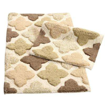 Alloy Moroccan Tiles Khaki 21 in. x 34 in. 2-Piece Bath Rug Set