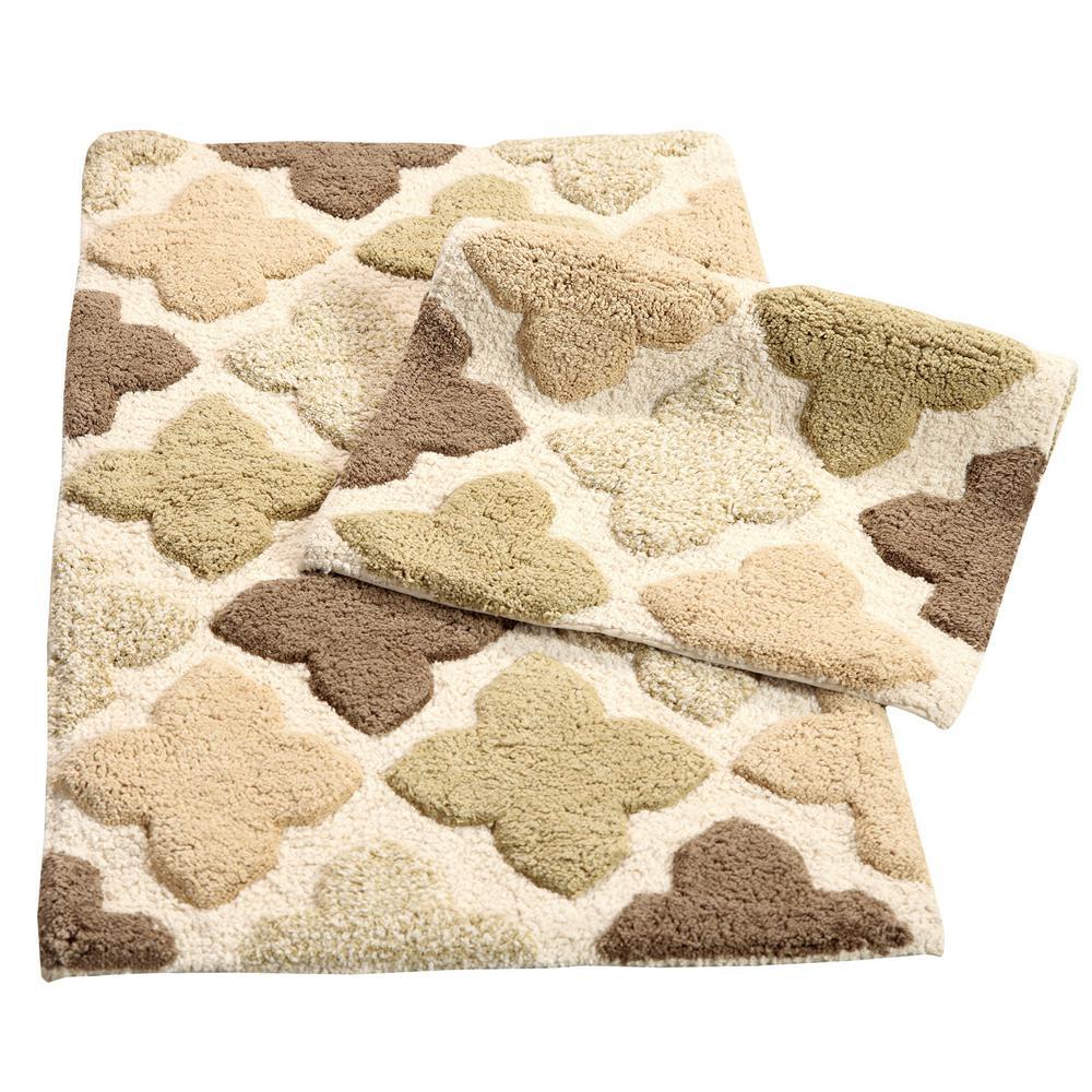 Alloy Moroccan Tiles Khaki 21 in. x 34 in. 2-Piece Bath Rug Set