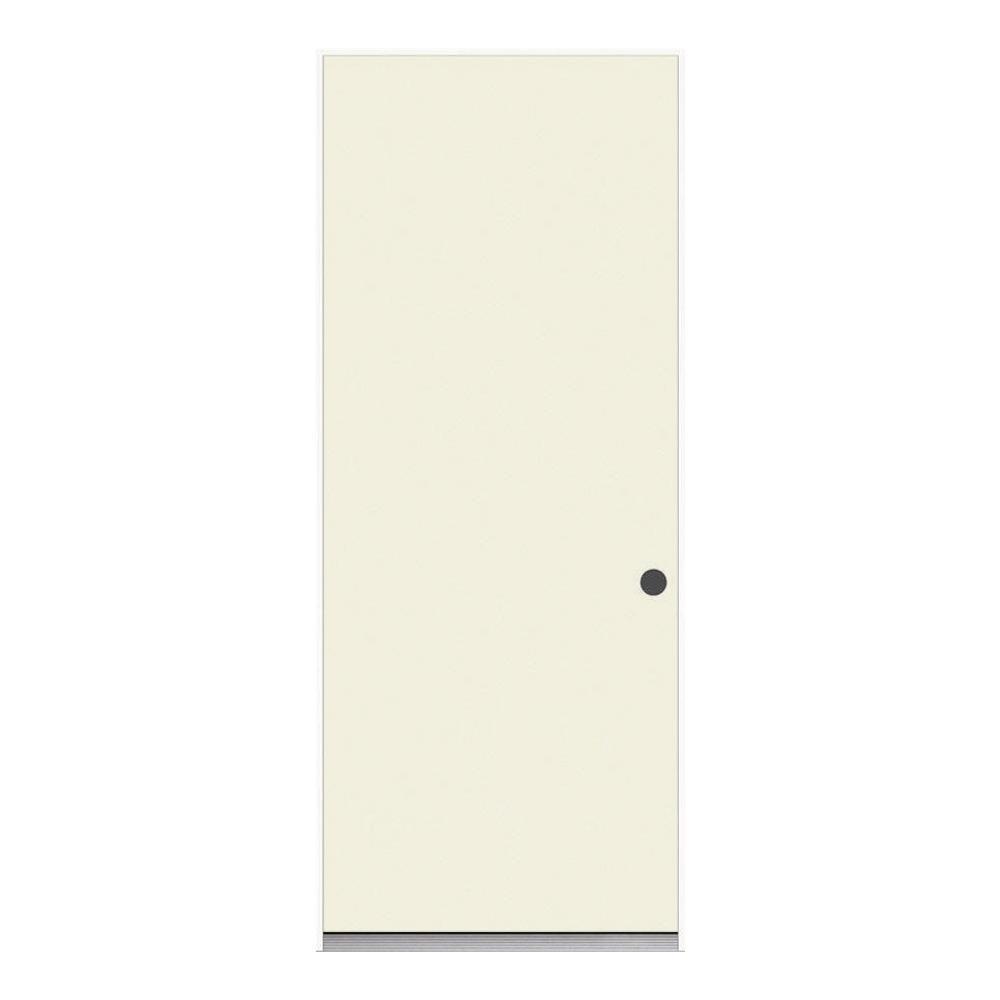 32 In X 78 In Unfinished Flush Hardwood Interior Door: JELD-WEN 32 In. X 78 In. Flush Primed Steel Prehung Left