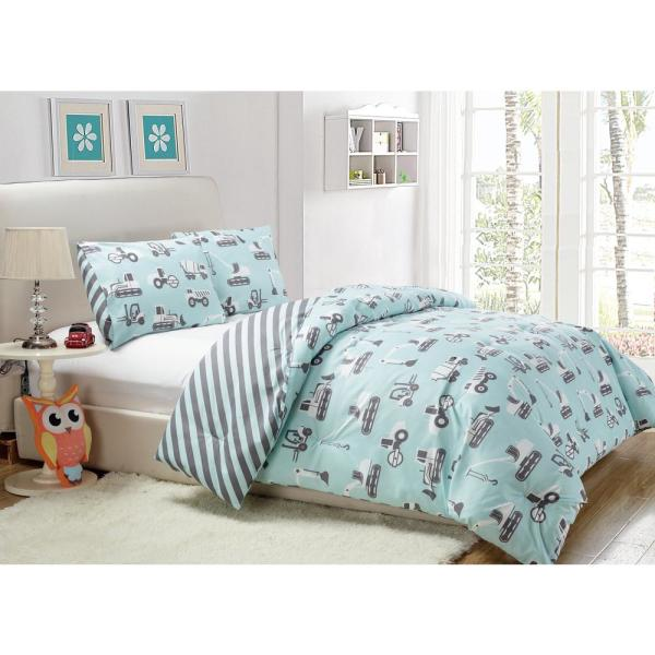Kensie Tommy 2 Piece Pale Blue Twin Comforter Set TO3PB=3 /13338