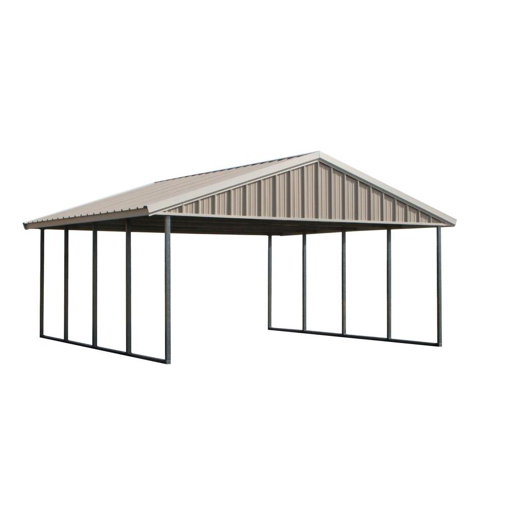 Premium Canopy 20 ft. x 20 ft. Ash Grey and Polar White All Steel Carport Structure with Durable Galvanized Frame