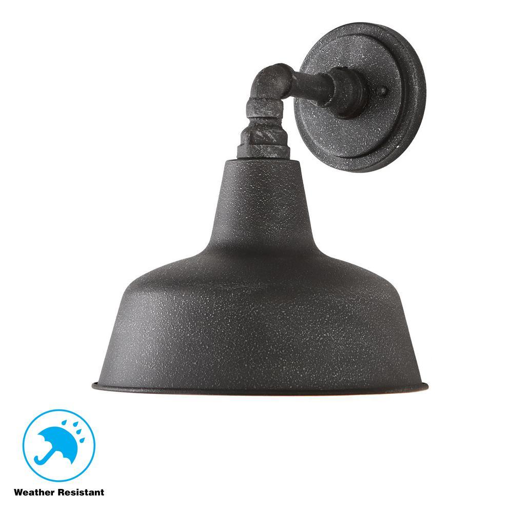 1-Light Gilded Iron 12.4 in. Outdoor Wall Mount Lantern