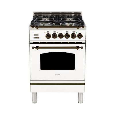 24 in. 2.4 cu. ft. Single Oven Dual Fuel Italian Range with True Convection, 4 Burners, Bronze Trim in White