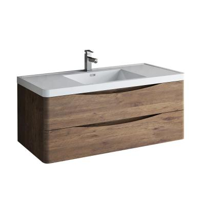 Tuscany 48 in. Modern Wall Hung Vanity in Rosewood with Vanity Top in White with White Basin