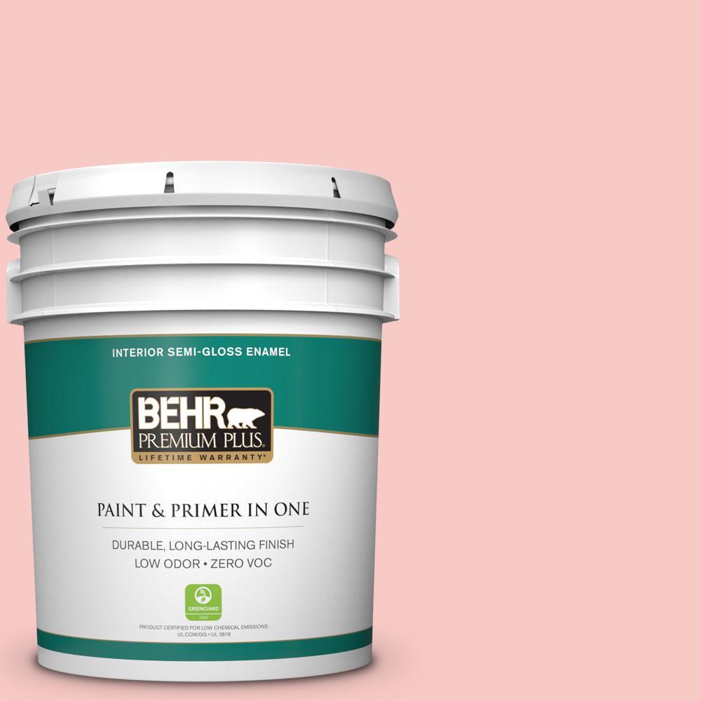 BEHR Premium Plus 5-gal. #160C-2 Flush Pink Zero VOC Semi-Gloss Enamel Interior Paint