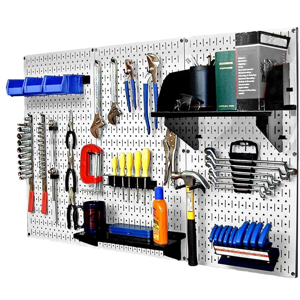 Wall Control 32 in. x 48 in. Metal Pegboard Standard Tool Storage Kit with White Pegboard and Black Peg Accessories