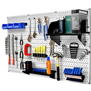 Wall Control 32 in. x 48 in. Metal Pegboard Standard Tool Storage Kit with White Pegboard and Black Peg Accessories-30WRK400WB - The Home Depot