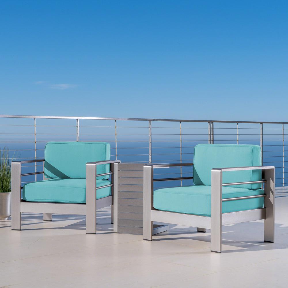 Cape Coral Silver 3-Piece Aluminum Patio Conversation Set with Canvas Aruba Sunbrella Cushions