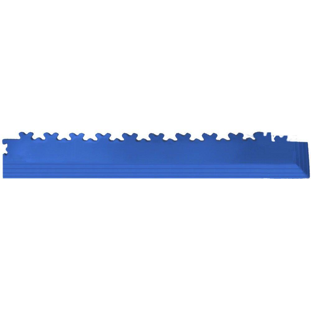 IT-tile 2-1/2 in. x 23 in. Diamond Plate Dark Blue PVC Tapered Interlocking Flooring Tile Corners (4-Pack)