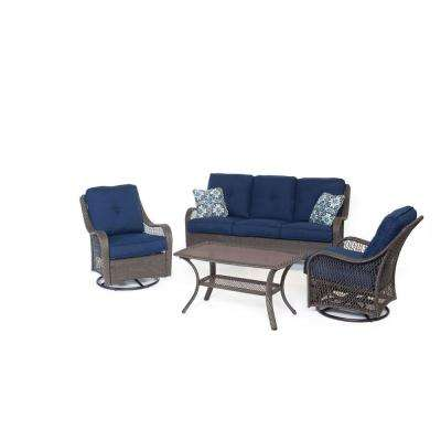 Orleans Grey 4-Piece All-Weather Wicker Patio Seating Set with Navy Blue Cushions