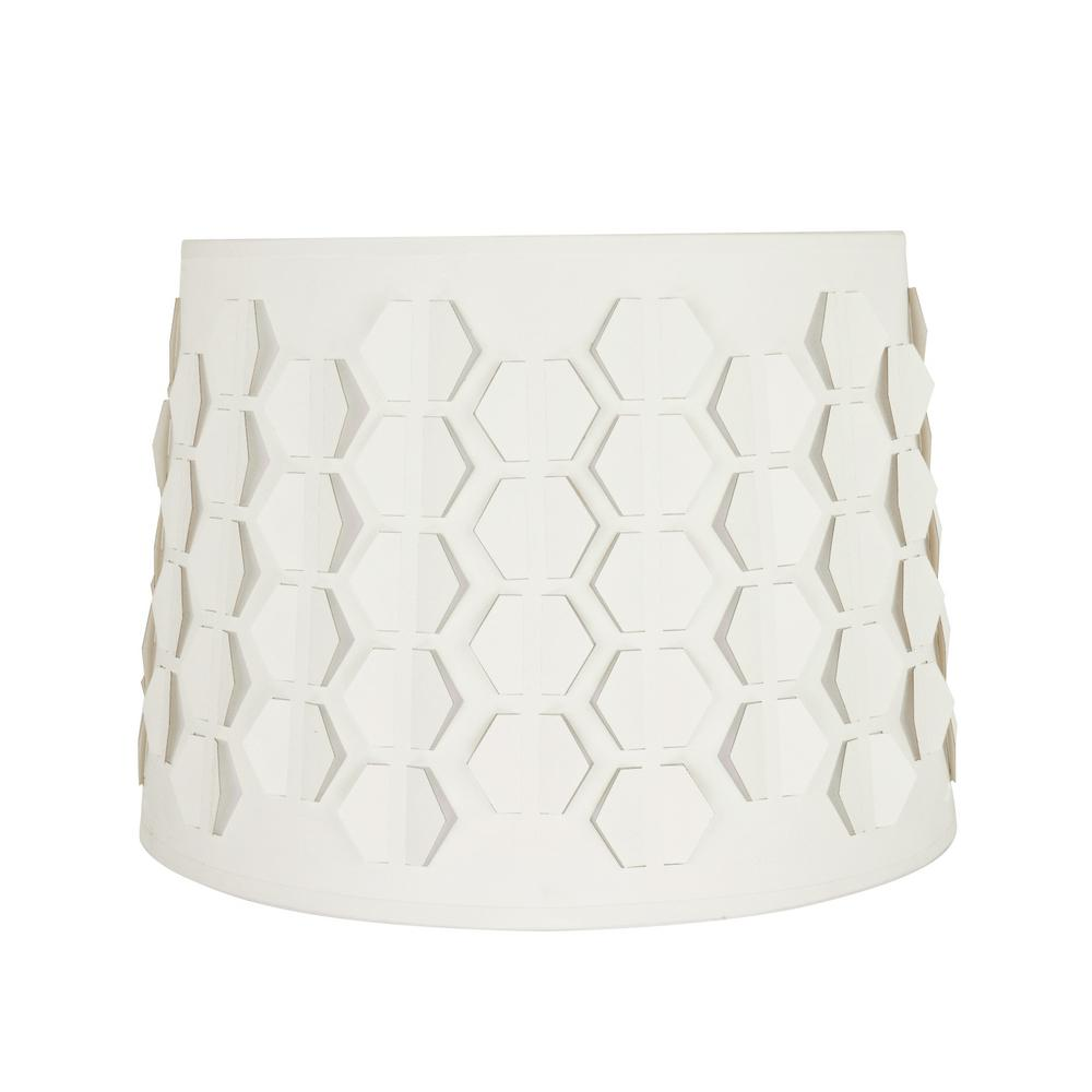 14 in. x 10 in. Off White and Hexagon Pattern Empire