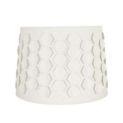 14 in. x 10 in. Off White and Hexagon Pattern Empire Lamp Shade