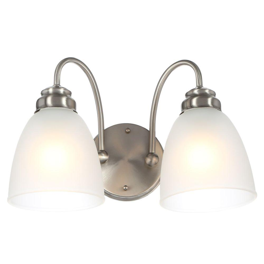 Hampton Bay Hamilton 2 Light Brushed Nickel Vanity Light With Frosted Glass Shades Efg1392a Bn The Home Depot