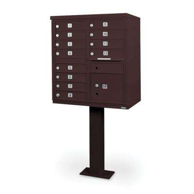 12-Compartment Mailbox CBU with Pedestal in Bronze